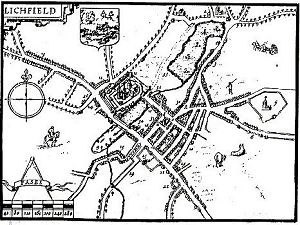 Old map of Lichfield